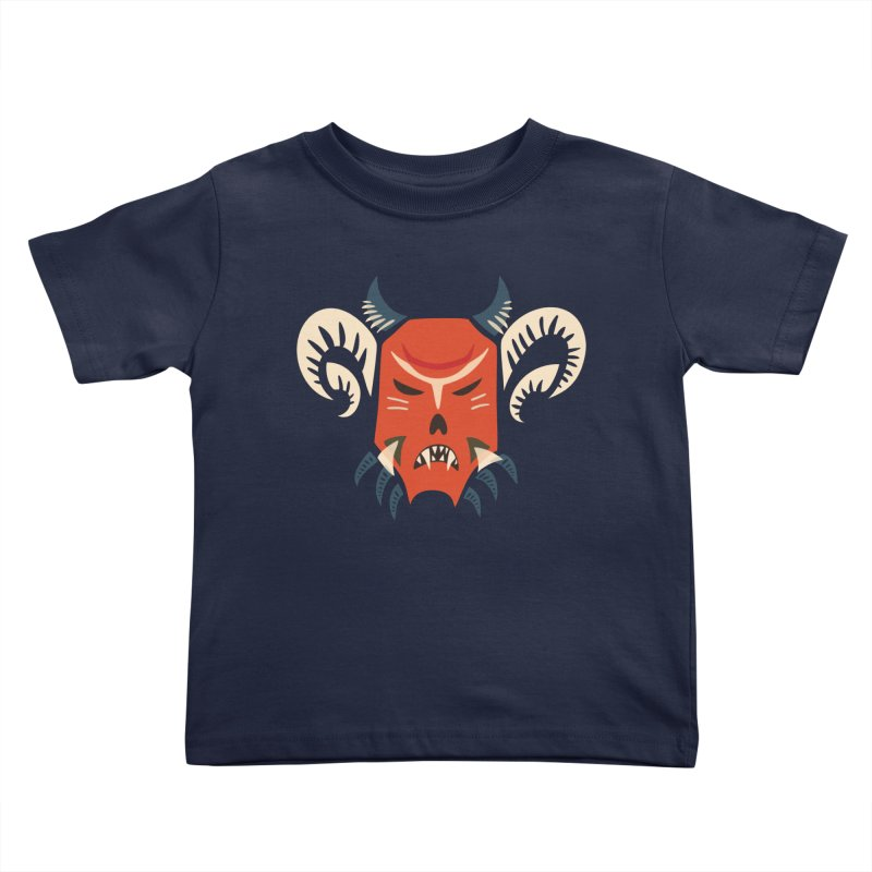 Evil Horned Demon Mask Kids Toddler T-Shirt by Boriana's Artist Shop