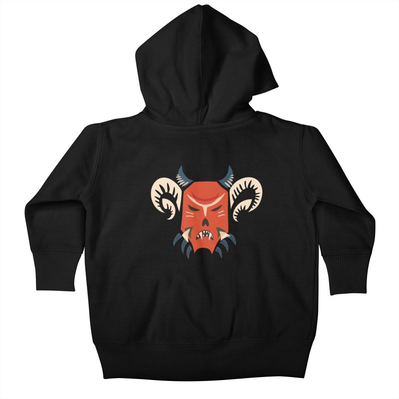 Evil Horned Demon Mask Kids Baby Zip-Up Hoody by Boriana's Artist Shop