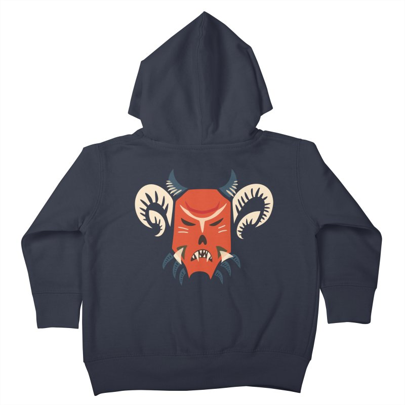 Evil Horned Demon Mask Kids Toddler Zip-Up Hoody by Boriana's Artist Shop