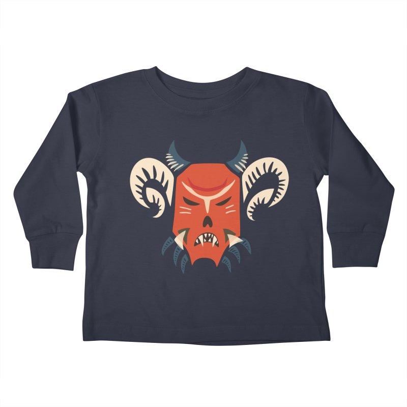 Evil Horned Demon Mask Kids Toddler Longsleeve T-Shirt by Boriana's Artist Shop