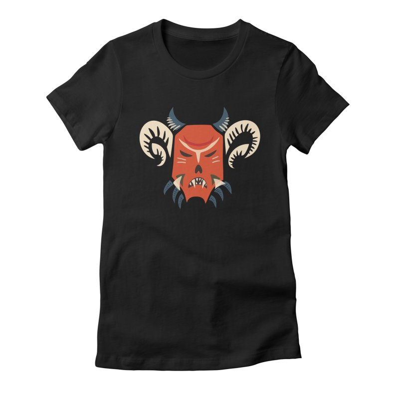 Evil Horned Demon Mask Women's Fitted T-Shirt by Boriana's Artist Shop
