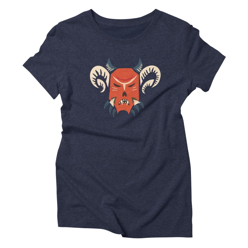 Evil Horned Demon Mask Women's Triblend T-Shirt by Boriana's Artist Shop