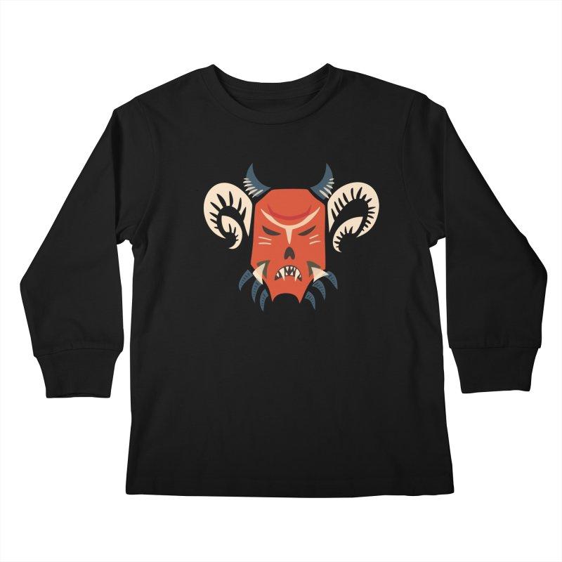 Evil Horned Demon Mask Kids Longsleeve T-Shirt by Boriana's Artist Shop