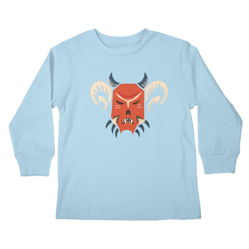 Evil Horned Demon Mask Kids Longsleeve T-Shirt by Boriana's Artist Shop