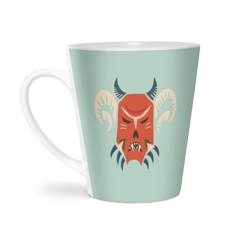 Evil Horned Demon Mask Accessories Latte Mug by Boriana's Artist Shop