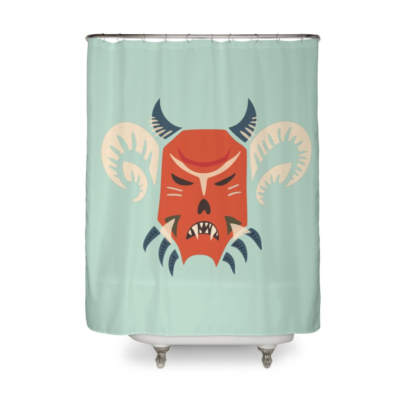 Evil Horned Demon Mask Home Shower Curtain by Boriana's Artist Shop