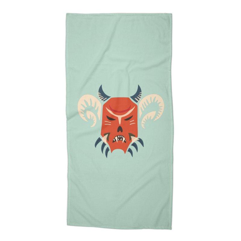 Evil Horned Demon Mask Accessories Beach Towel by Boriana's Artist Shop
