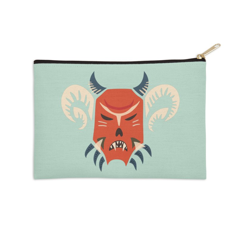 Evil Horned Demon Mask Accessories Zip Pouch by Boriana's Artist Shop
