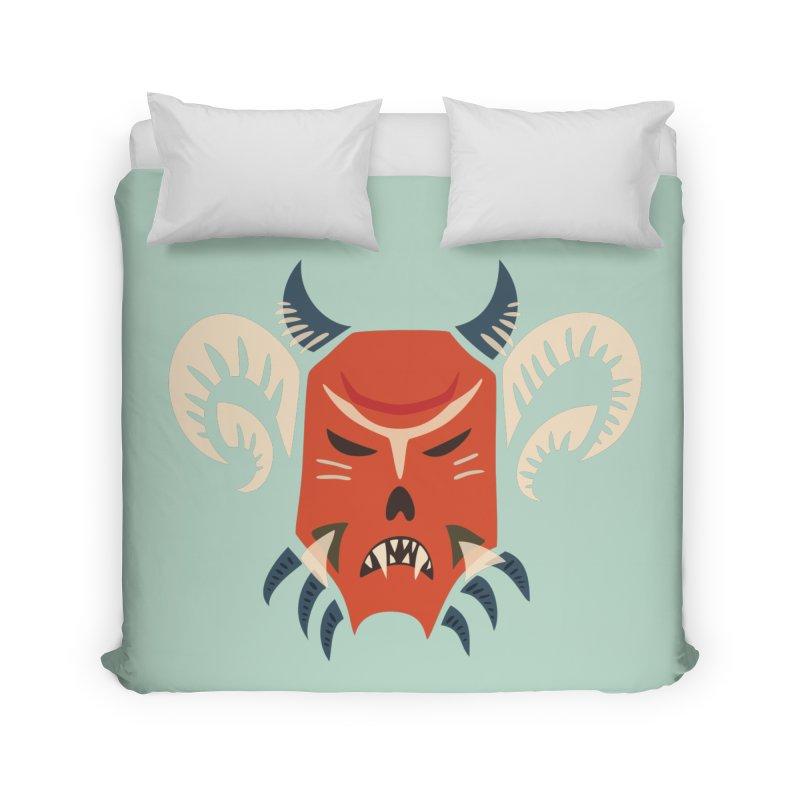 Evil Horned Demon Mask Home Duvet by Boriana's Artist Shop