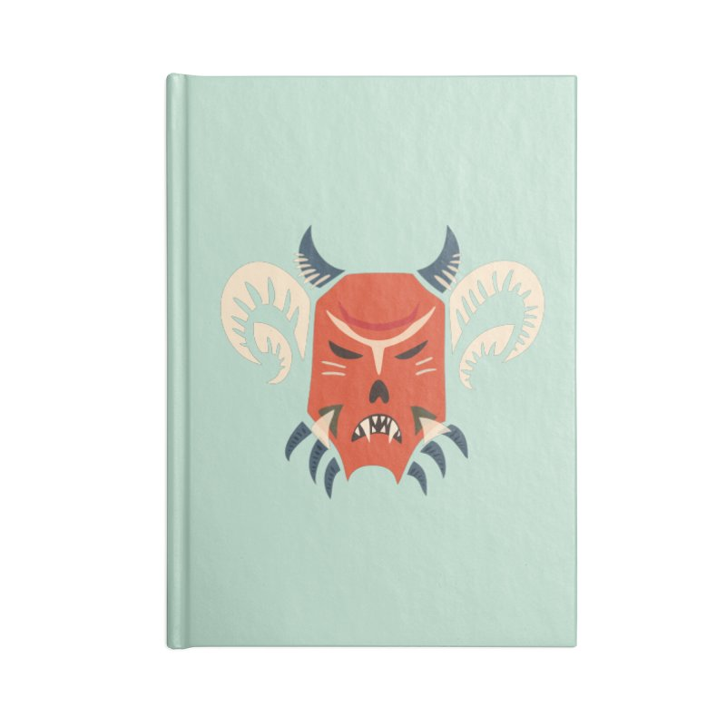 Evil Horned Demon Mask Accessories Lined Journal Notebook by Boriana's Artist Shop