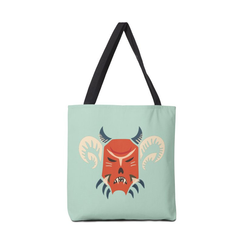 Evil Horned Demon Mask Accessories Tote Bag Bag by Boriana's Artist Shop