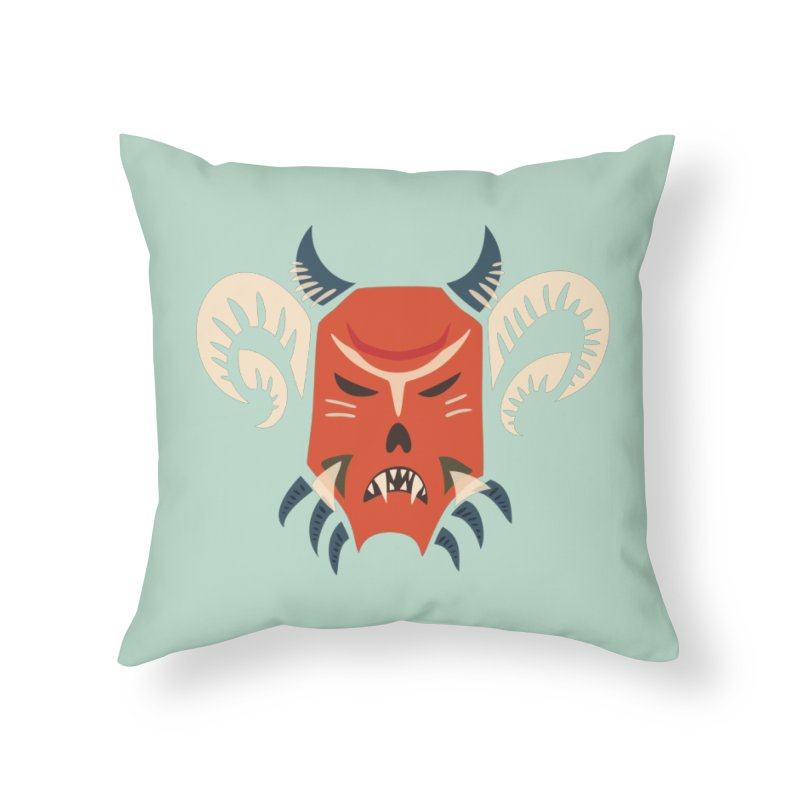Evil Horned Demon Mask Home Throw Pillow by Boriana's Artist Shop
