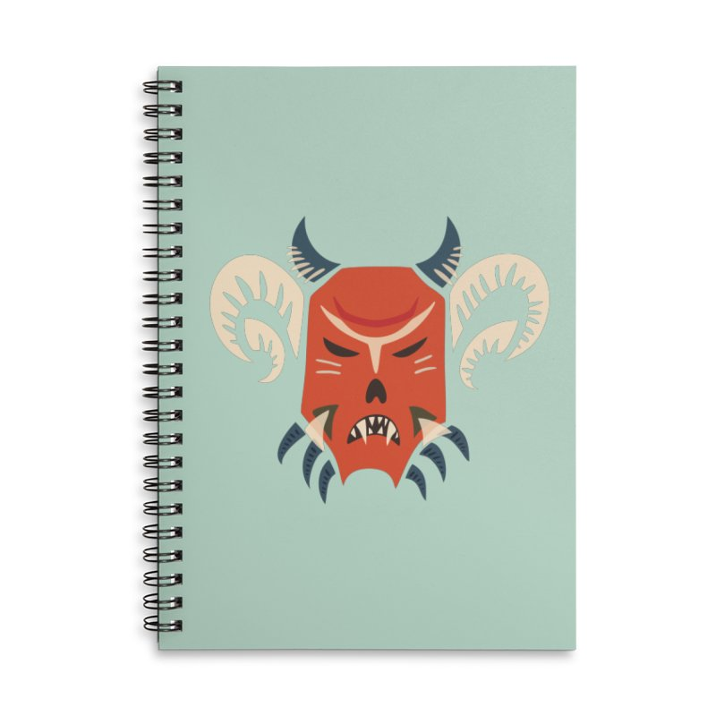 Evil Horned Demon Mask Accessories Lined Spiral Notebook by Boriana's Artist Shop