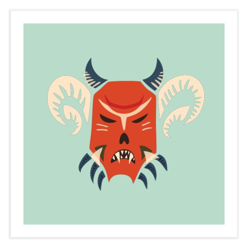 Evil Horned Demon Mask Home Fine Art Print by Boriana's Artist Shop