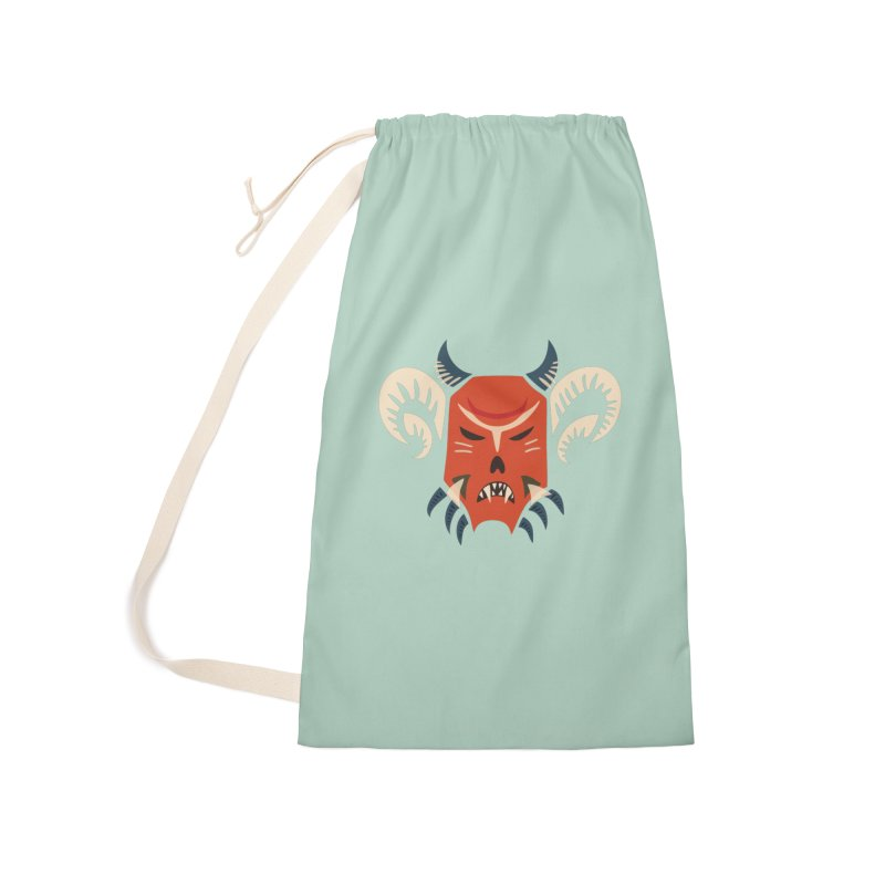 Evil Horned Demon Mask Accessories Laundry Bag Bag by Boriana's Artist Shop