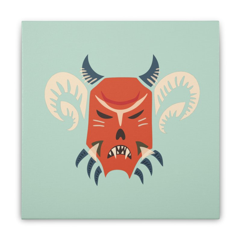 Evil Horned Demon Mask Home Stretched Canvas by Boriana's Artist Shop