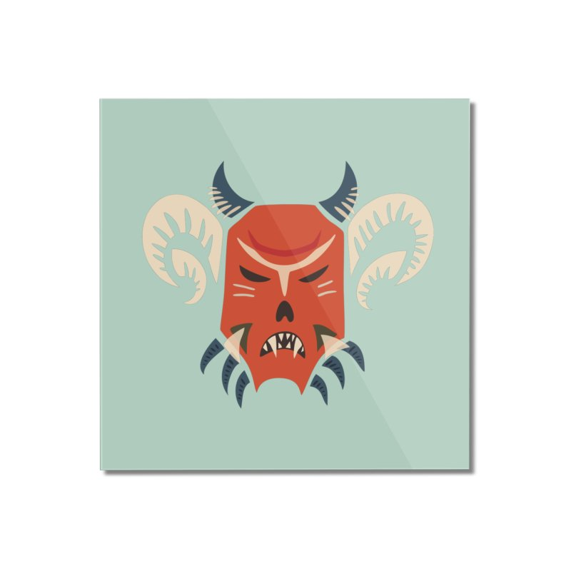 Evil Horned Demon Mask Home Mounted Acrylic Print by Boriana's Artist Shop