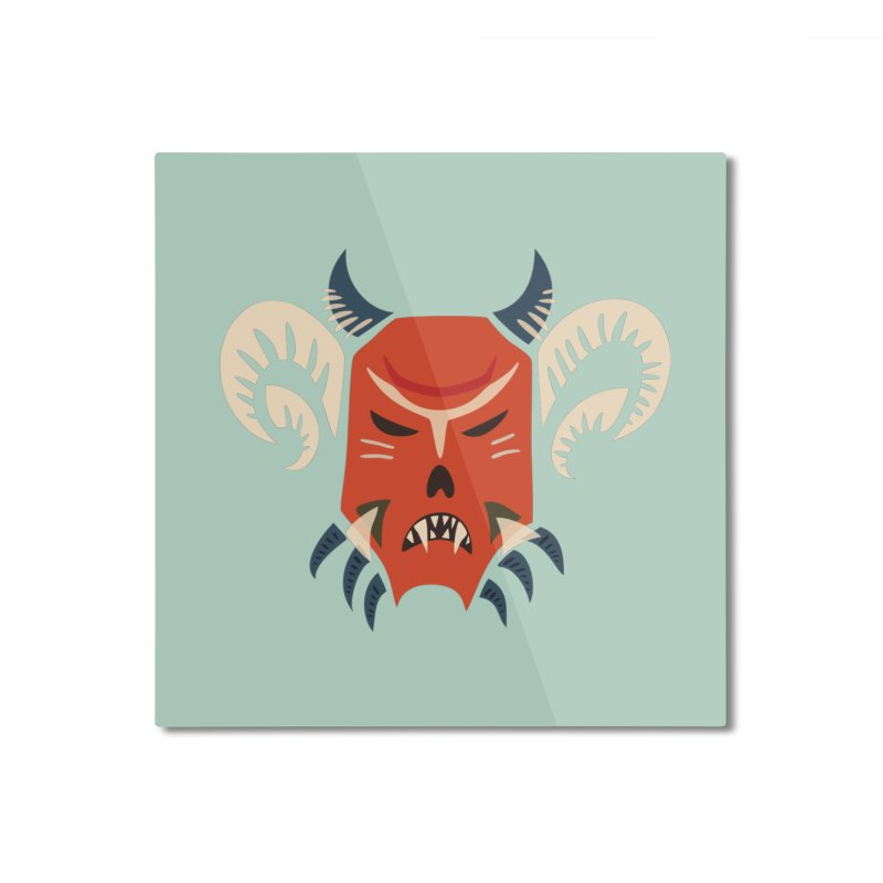 Evil Horned Demon Mask Home Mounted Aluminum Print by Boriana's Artist Shop