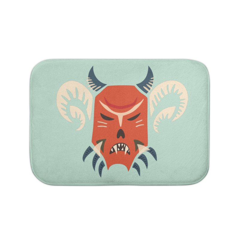 Evil Horned Demon Mask Home Bath Mat by Boriana's Artist Shop