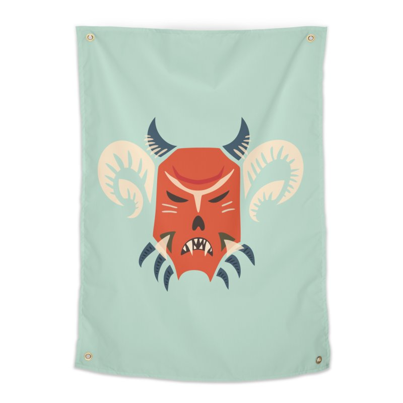 Evil Horned Demon Mask Home Tapestry by Boriana's Artist Shop