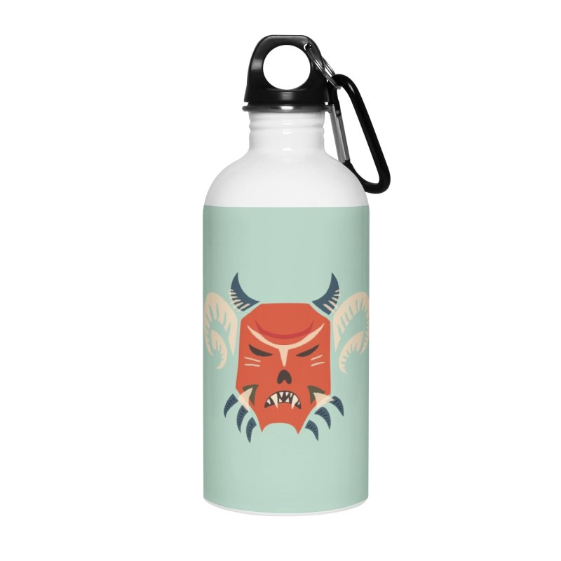 Evil Horned Demon Mask Accessories Water Bottle by Boriana's Artist Shop