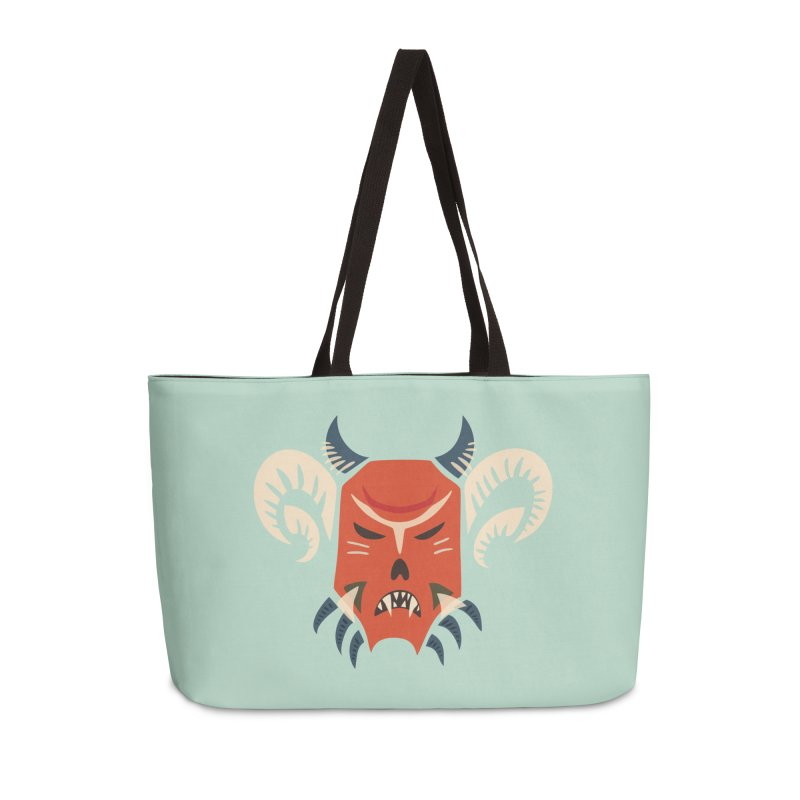 Evil Horned Demon Mask Accessories Weekender Bag Bag by Boriana's Artist Shop