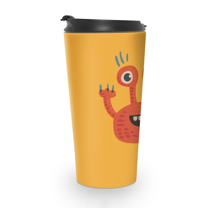 Funny Orange Monster Accessories Travel Mug by Boriana's Artist Shop