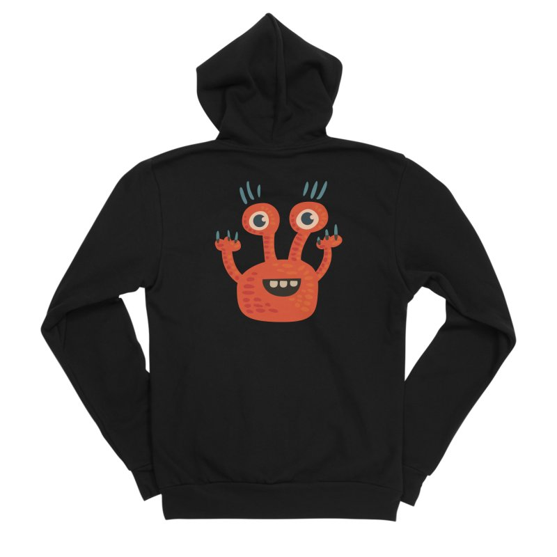 Funny Orange Monster Women's Sponge Fleece Zip-Up Hoody by Boriana's Artist Shop