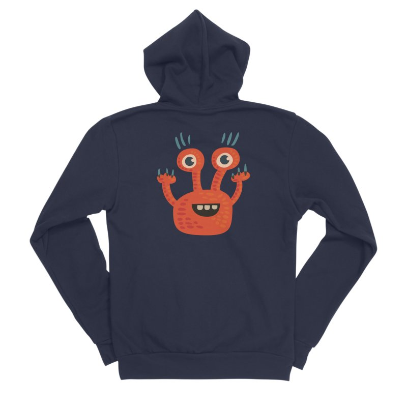 Funny Orange Monster Men's Sponge Fleece Zip-Up Hoody by Boriana's Artist Shop