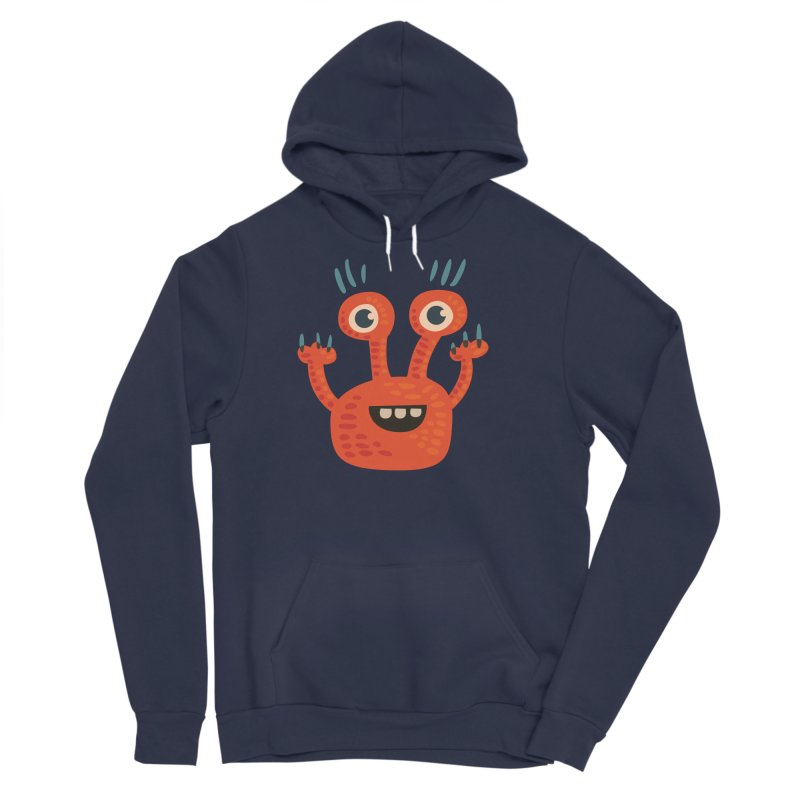 Funny Orange Monster Men's Sponge Fleece Pullover Hoody by Boriana's Artist Shop