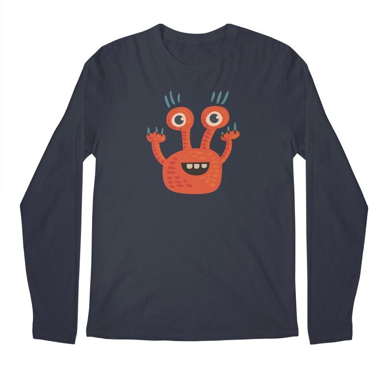 Funny Orange Monster Men's Longsleeve T-Shirt by Boriana's Artist Shop