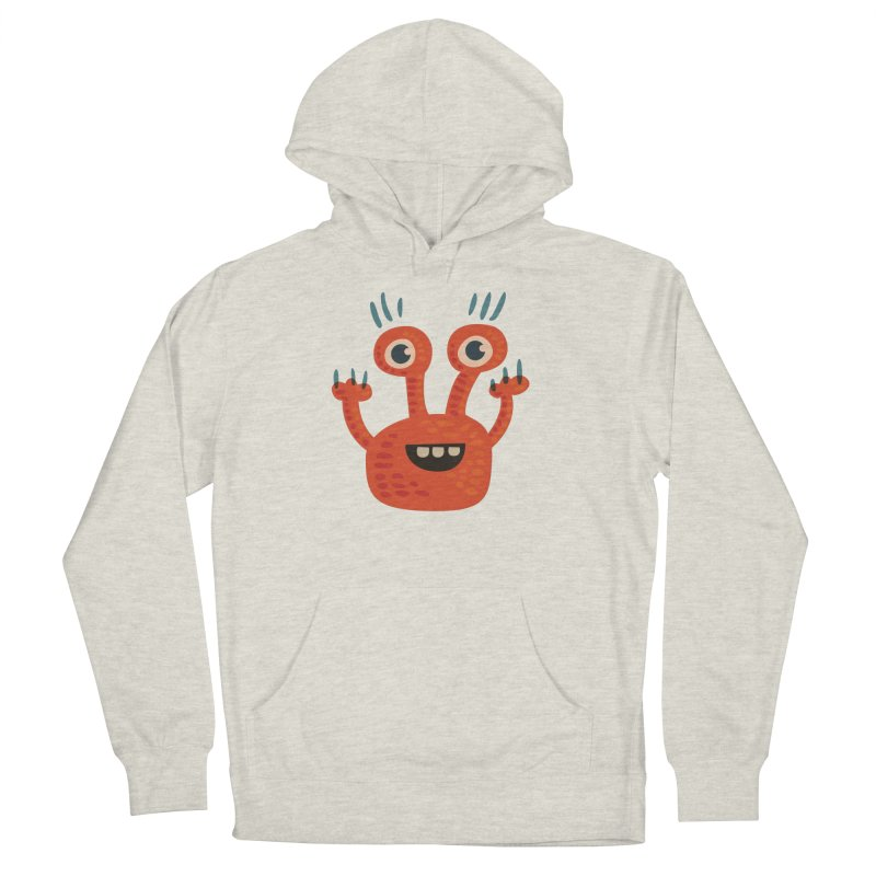Funny Orange Monster Women's French Terry Pullover Hoody by Boriana's Artist Shop