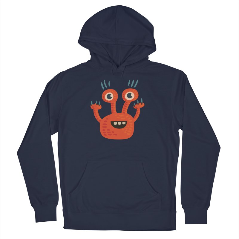 Funny Orange Monster Men's French Terry Pullover Hoody by Boriana's Artist Shop