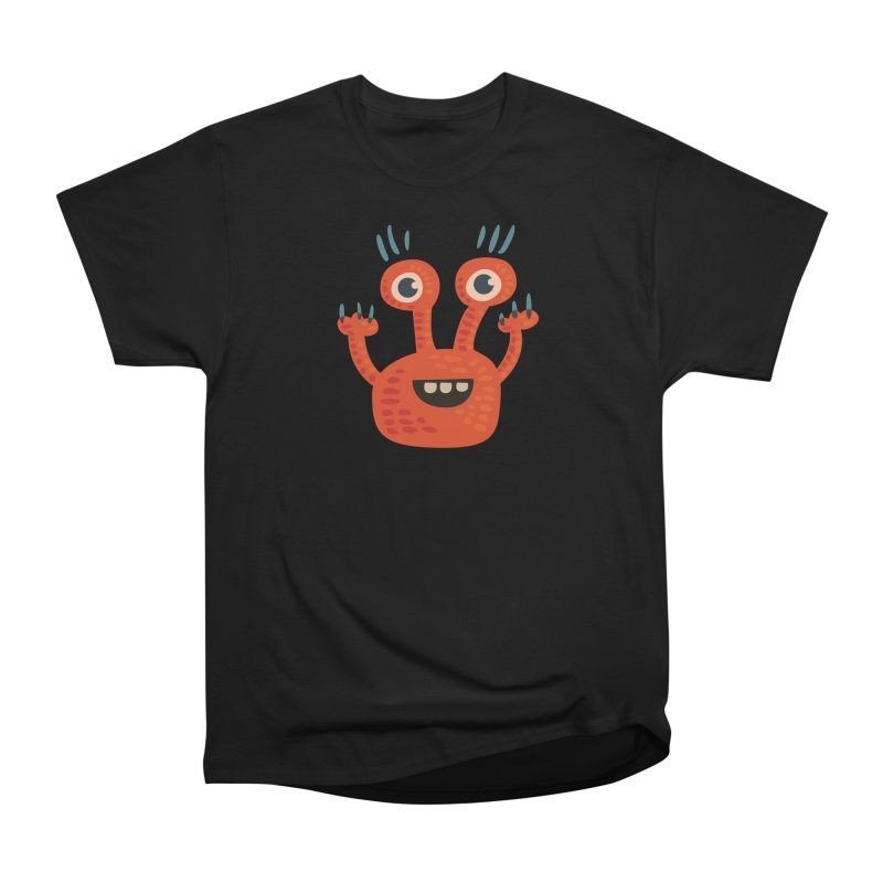 Funny Orange Monster Women's Heavyweight Unisex T-Shirt by Boriana's Artist Shop