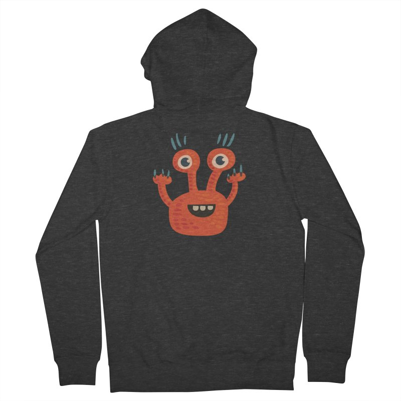 Funny Orange Monster Women's French Terry Zip-Up Hoody by Boriana's Artist Shop