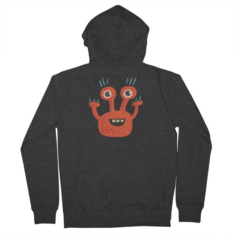 Funny Orange Monster Men's Zip-Up Hoody by Boriana's Artist Shop