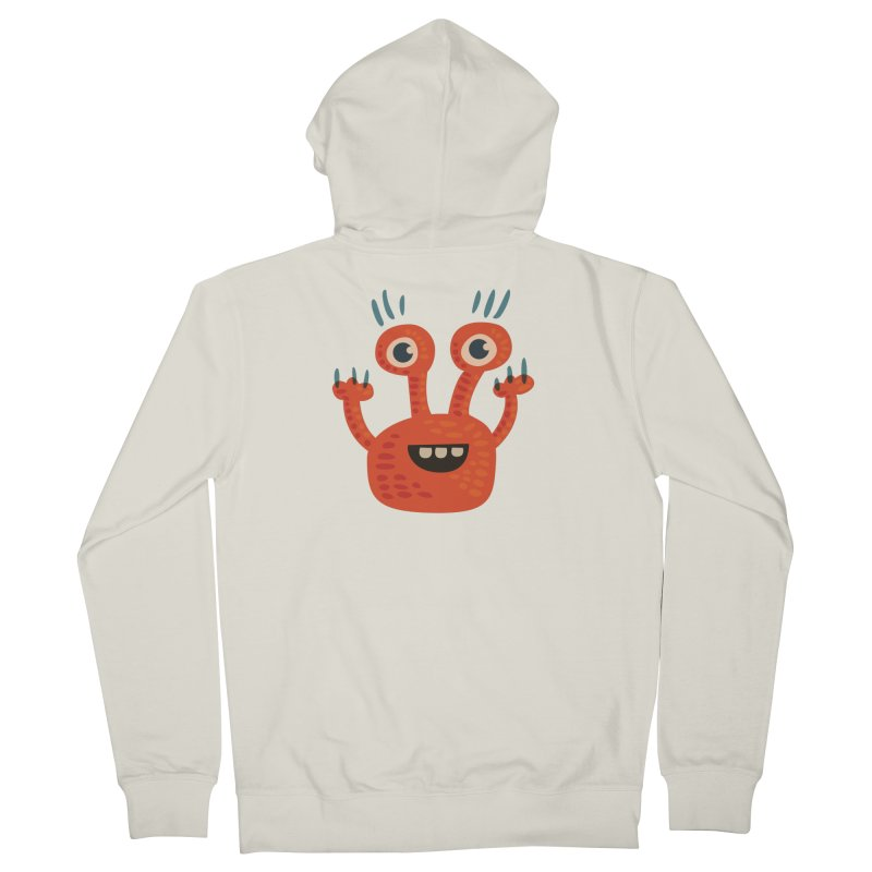 Funny Orange Monster Men's French Terry Zip-Up Hoody by Boriana's Artist Shop