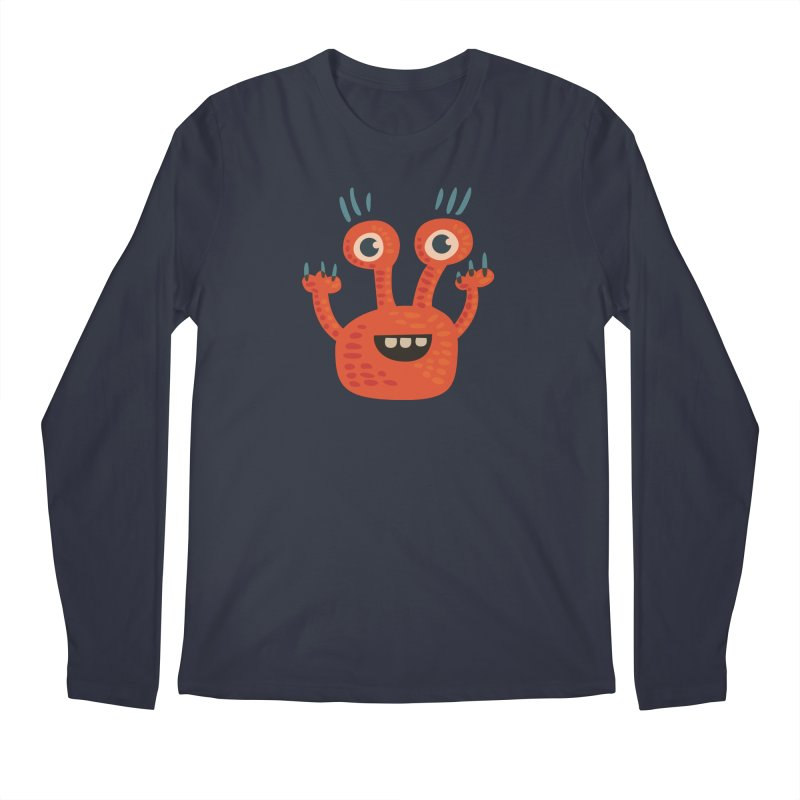 Funny Orange Monster Men's Regular Longsleeve T-Shirt by Boriana's Artist Shop