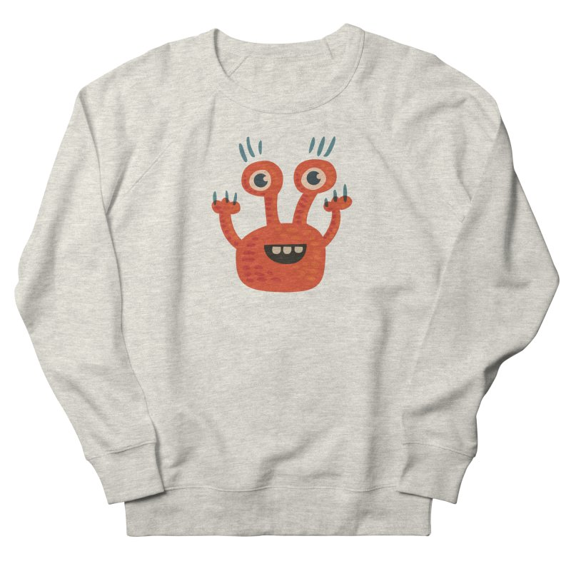 Funny Orange Monster Men's French Terry Sweatshirt by Boriana's Artist Shop