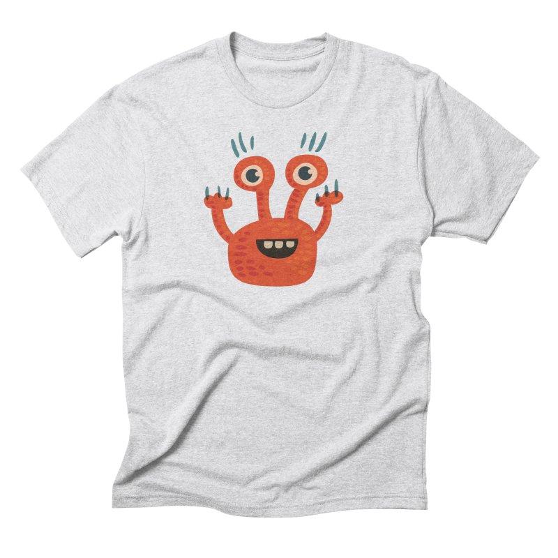 Funny Orange Monster Men's Triblend T-Shirt by Boriana's Artist Shop