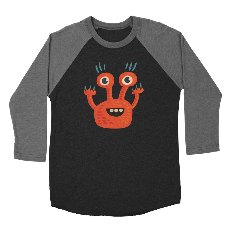 Funny Orange Monster Men's Baseball Triblend Longsleeve T-Shirt by Boriana's Artist Shop