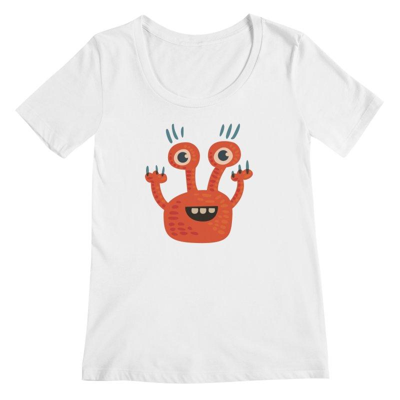 Funny Orange Monster Women's Regular Scoop Neck by Boriana's Artist Shop