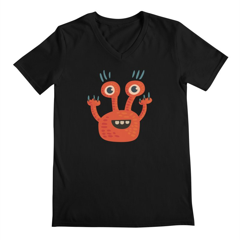 Funny Orange Monster Men's Regular V-Neck by Boriana's Artist Shop