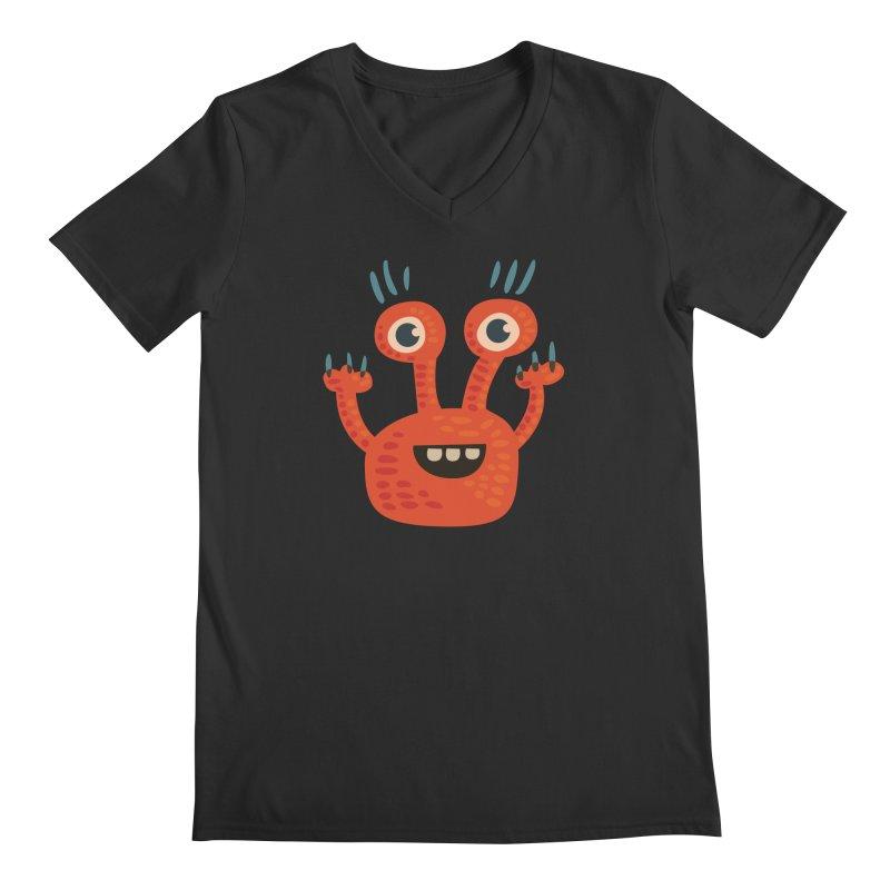 Funny Orange Monster Men's Regular V-Neck by Boriana's Artist Shop