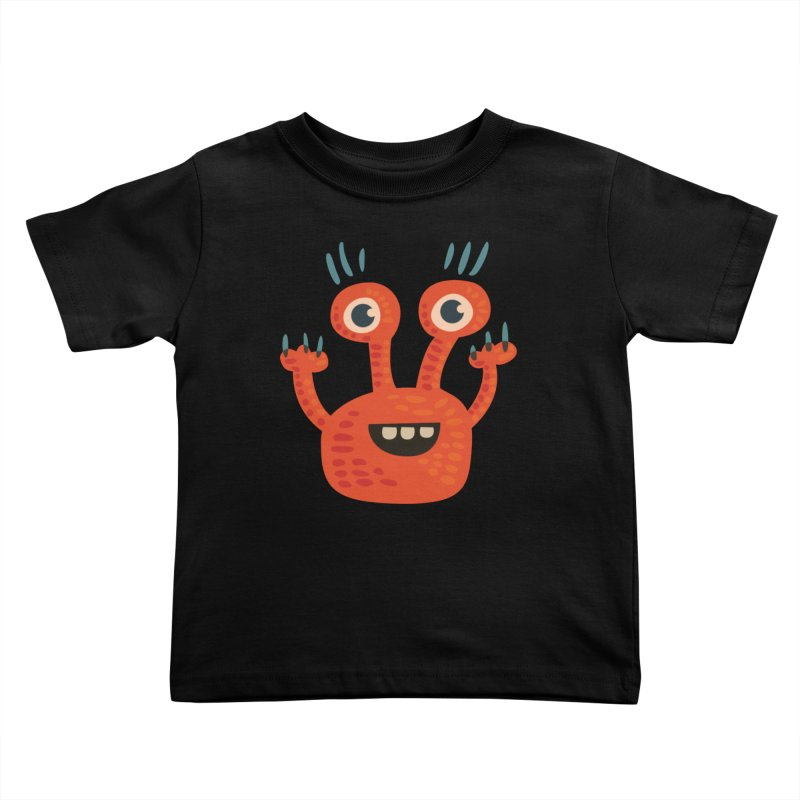 Funny Orange Monster Kids Toddler T-Shirt by Boriana's Artist Shop