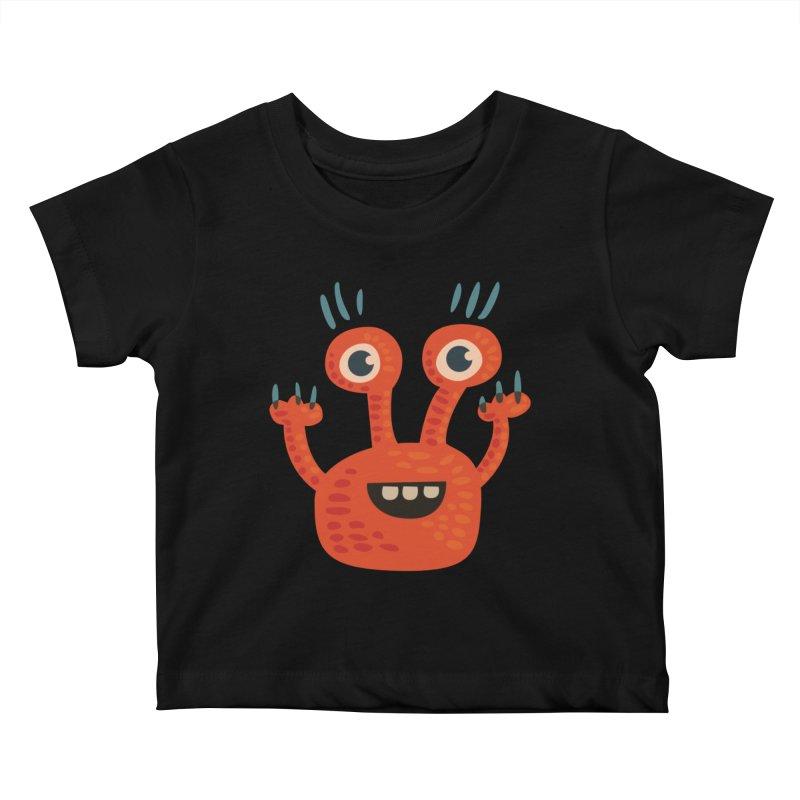 Funny Orange Monster Kids Baby T-Shirt by Boriana's Artist Shop