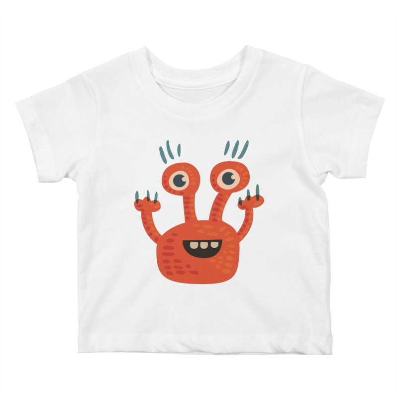 Funny Orange Monster Kids Baby T-Shirt by Boriana's Artist Shop