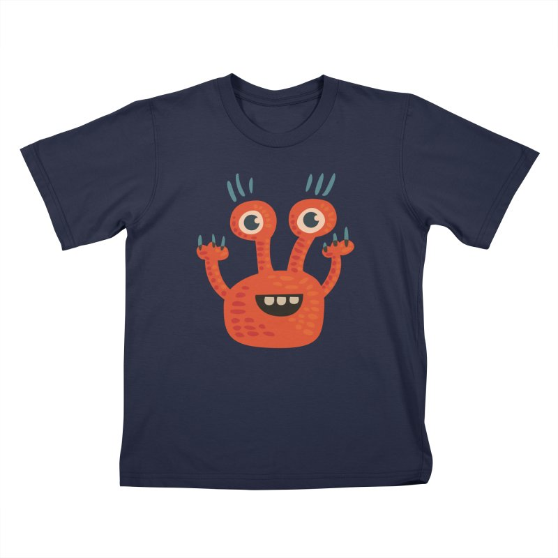 Funny Orange Monster Kids T-Shirt by Boriana's Artist Shop