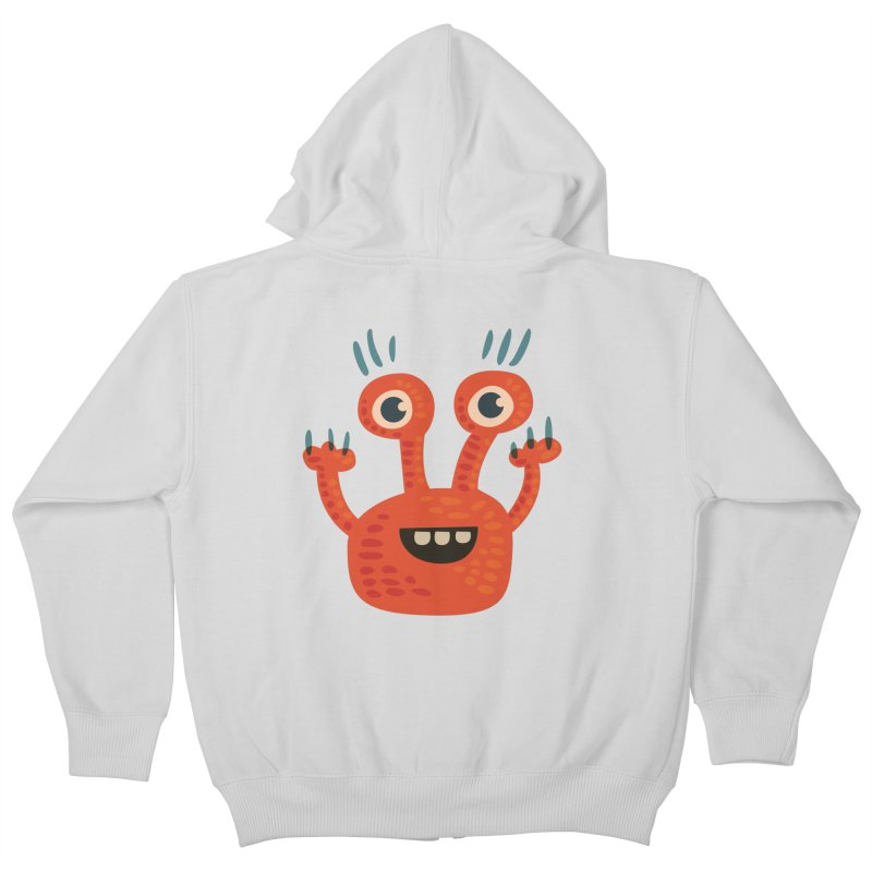 Funny Orange Monster Kids Zip-Up Hoody by Boriana's Artist Shop
