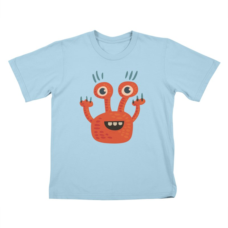 Funny Orange Monster Kids T-Shirt by Boriana's Artist Shop